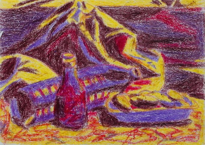 Johanna Schott // Müll hinter dem Zelt in Umbrien // Wachskreiden auf Papier // 14,5 x 20,5 cm // 1985