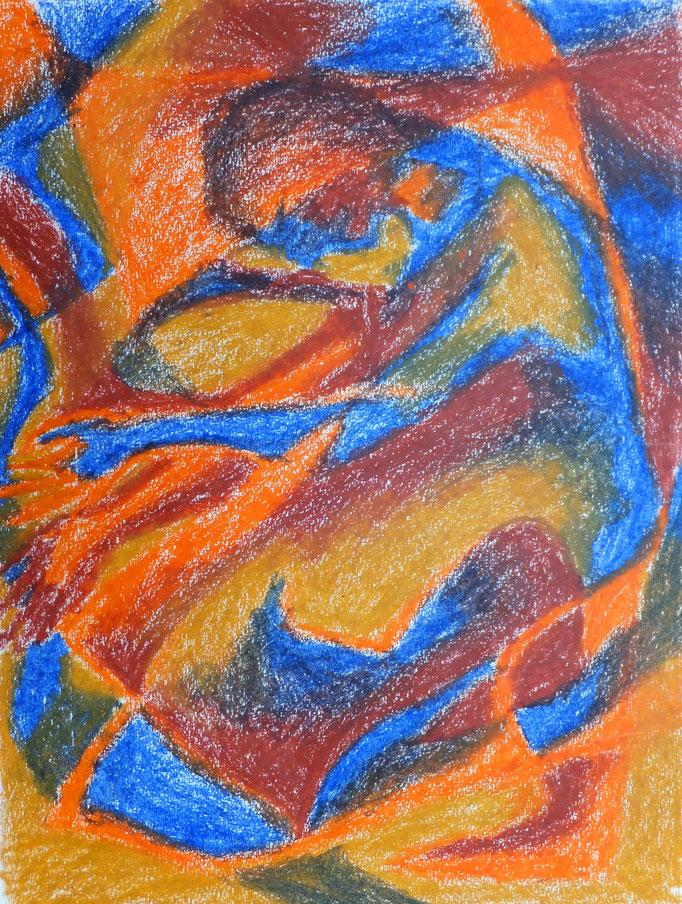 Johanna Schott // Abstrakte Figur // Ölkreiden auf Papier // 24 x 32,7 cm // 1985