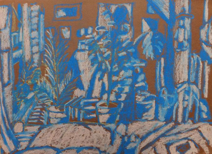 Johanna Schott // Mein Zimmer // Ölkreiden auf Papier // 25 x 35 cm // 1984