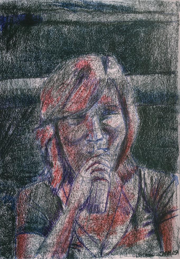 Johanna Schott // Porträt 1 // Mischtechnik auf Papier // 21 x 29,5 cm // 2011