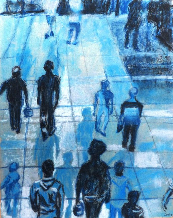 Johanna Schott // Schattenmenschen // Deckfarben, Pastell auf Pappe // 24,5 x 35 cm // 2013