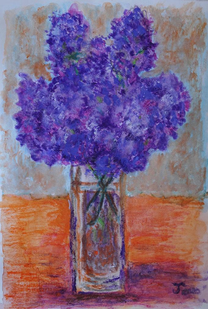 Johanna Schott // Flieder //Acryl, Aquarell auf Papier // 20,7 x 29,5 cm // 2020
