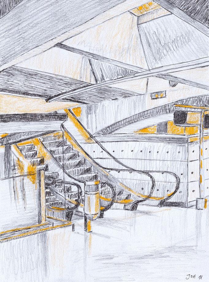 Johanna Schott // Bahnhof Oriente Lissabon // Mischtechnik auf Papier // 21 x 27,8 cm // 2011