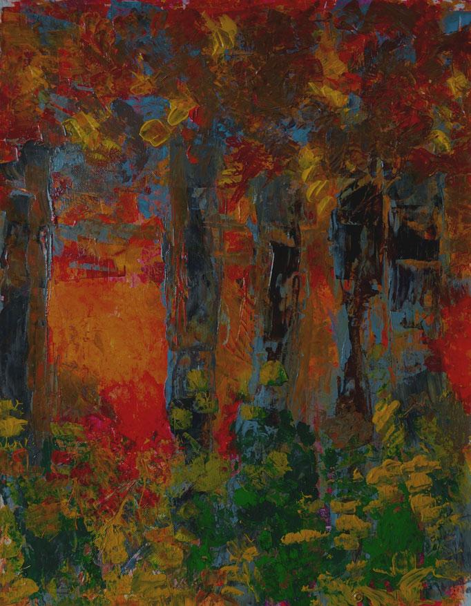 Johanna Schott // Herbstbäume // Acryl auf Papier // 50 x 61,5 cm // 2020