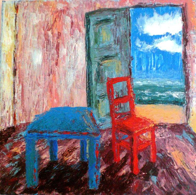 Johanna Schott // Roter Stuhl // Acryl auf Leinwand // 40 x 40 cm // 2012