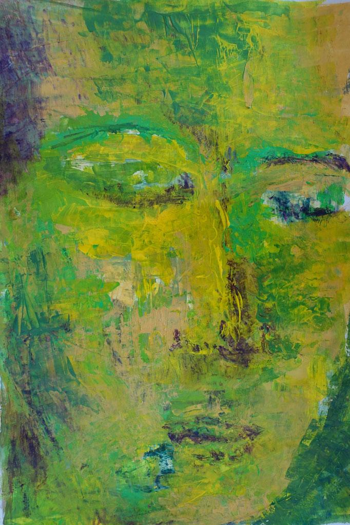 Johanna Schott // Gesicht gelb // Acryl auf Papier // 29,7 x 42 cm // 2020