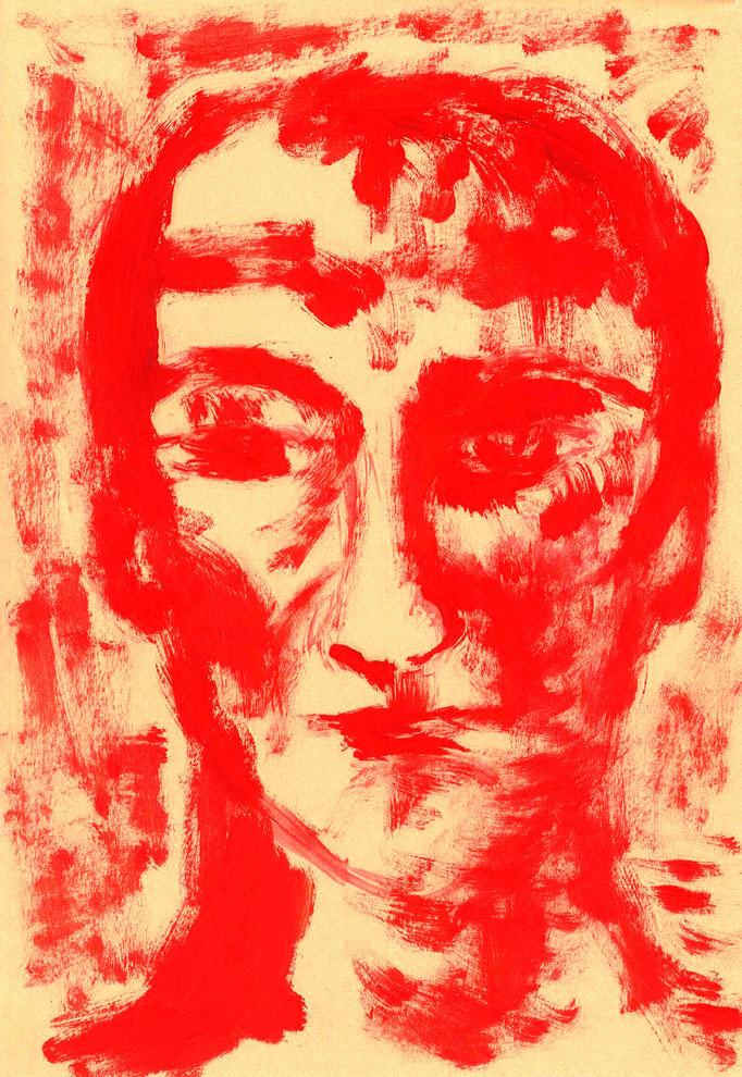 Johanna Schott // Kopf 6 // Öl auf Papier // 12 x 29,7 cm // 2005