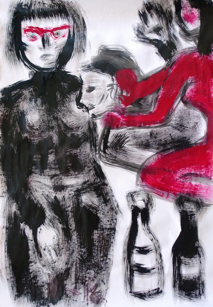 Johanna Schott // Frau mit roter Brille // Abtönfarben auf Papier // 70 x 99 cm // 1998