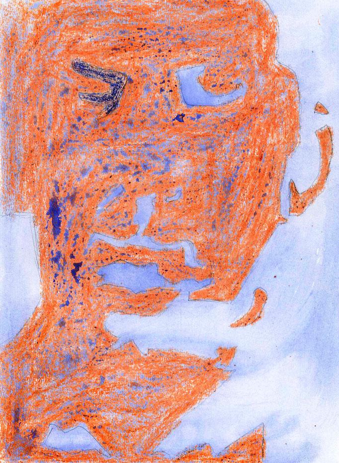 Johanna Schott // Männerkopf blau orange // Wachsmalkreiden, Wasserfarben auf Papier// 21 x 28 cm // 2012