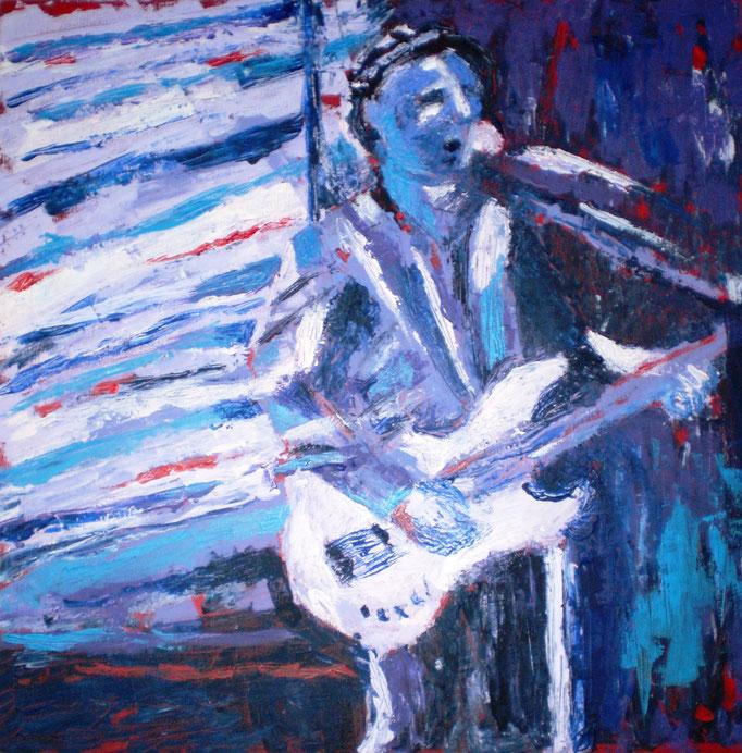 Johanna Schott // Jens mit weißem Bass // Acryl auf Leinwand // 60 x 60 cm // 2011