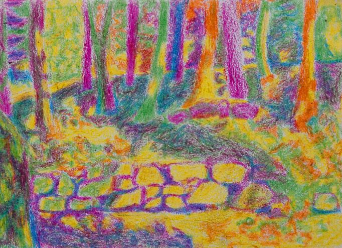 Johanna Schott // Wald in Umbrien // Wachskreiden auf Papier // 14,5 x 20,5 cm // 1985
