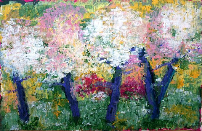 Johanna Schott // Blühende Obstbäume // Acryl auf Papier // 110, 47,5 cm // 2019