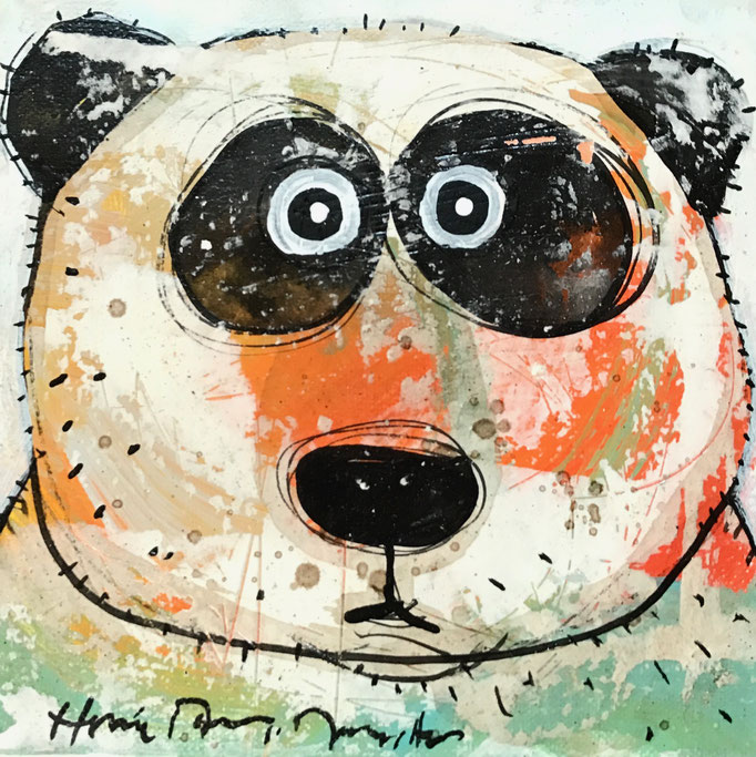 Mei Xiang                    Mixed Media on linen              8''x8''