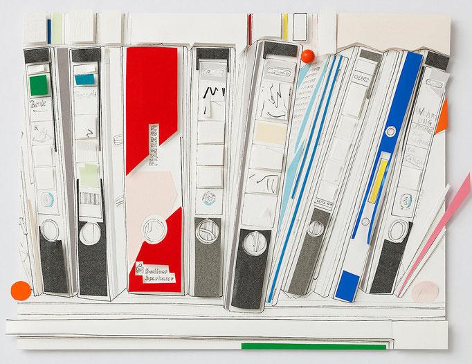 Marion Eichmann, ORDNER, 2015, Pigmenttusche, farbiges Papier, Fundstück, 30 x 40 cm