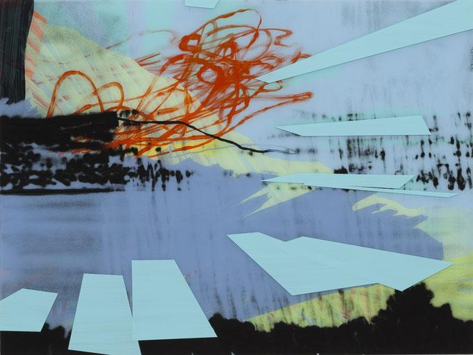 KLAUS LOMNITZER, o.T. (landscape), 2018, Acryl und Tusche, vorder- und rückseitig auf Acrylglas montiert, auf Holz, 60 x 80 cm