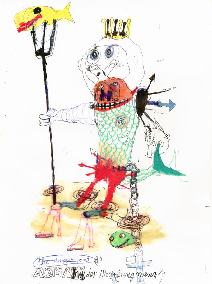 AQUAMAN, DER MEERJUNGFRAUMANN, 2020, Mischtechnik auf Papier, 42 x 30 cm
