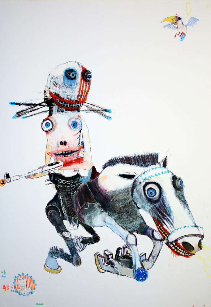 AMERICAN HORSE, 2020, Mischtechnik auf Papier, 85 x 60 cm