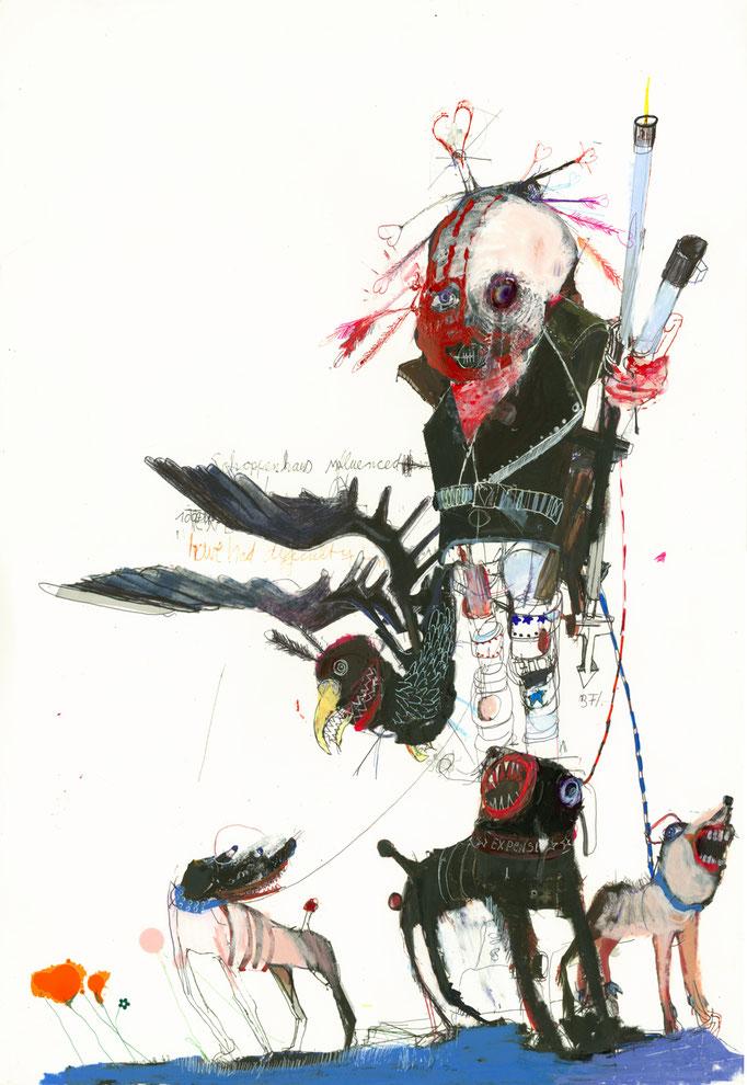 PATHFINDER, 2020, Mischtechnik auf Papier, 59 x 42 cm