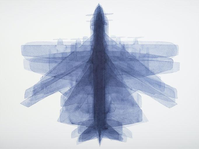 KLAUS LOMNITZER,  O.T. (Flugzeug), aus der Serie: Überunter den Maulwurfshügeln, 2016 , Tusche auf Papier, 42 x 56 cm,