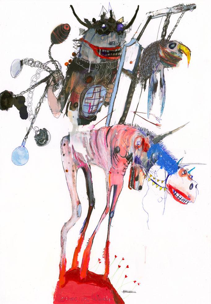 CONAN IN WEIMAR, 2020, Mischtechnik auf Papier, 59 x 42 cm