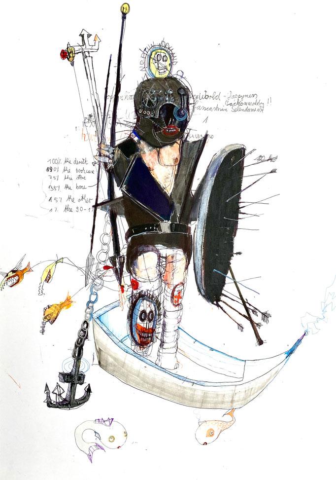 NEPTUN DRYLAND, 2020, Mischtechnik auf Papier, 59 x 42 cm