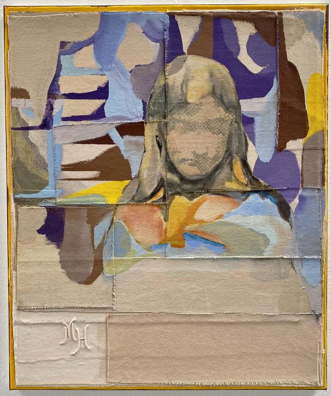 Christofer Kochs, Gefühlte Wahrheit, 2019, gefaltete Leinwand, Öl, 60 x 50 cm