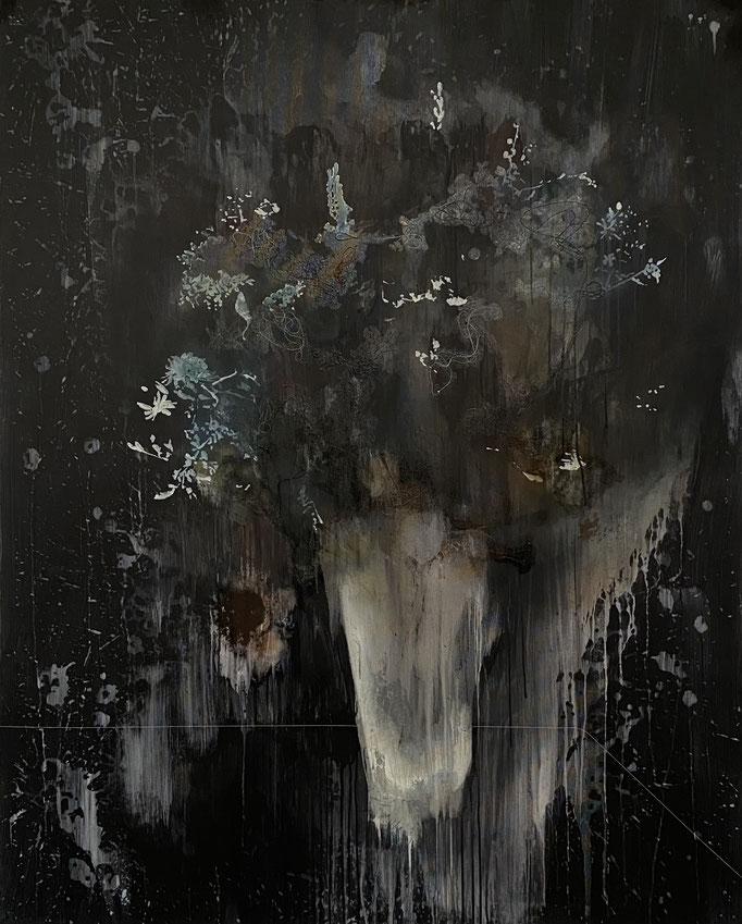 DER TRAUM (ENSTEHUNG DER NACHT) 2015 Acryl, Öl und Faden auf Leinwand 150 x 120 cm
