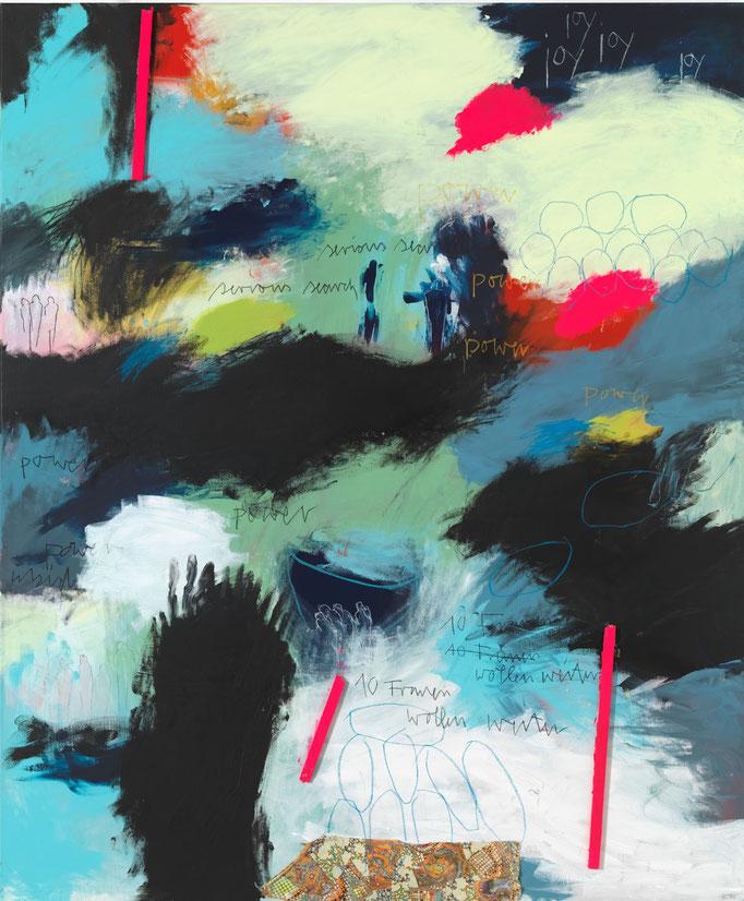 REBECCA RAUE, ZEHN FRAUEN WOLLEN WEITER  2016 Acryl, Bleistift, Buntstift, Kohle, Pastell, Balsaholz und Stoff auf Leinwand  175 x 145 x 6 cm