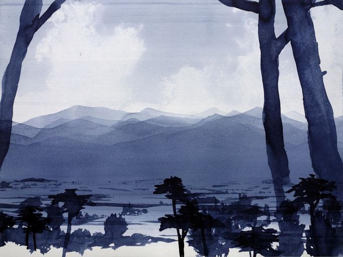 KLAUS LOMNITZER,  o.T. (montp), aus der Serie: Überunter den Maulwurfshügeln, 2020, Tusche auf Papier, 42 x 56 cm
