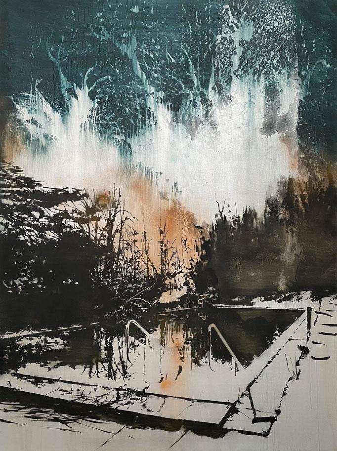 ORANGE SUNSET 2018 Silber, Öl und Acryl auf Leinwand 200 x 150 cm