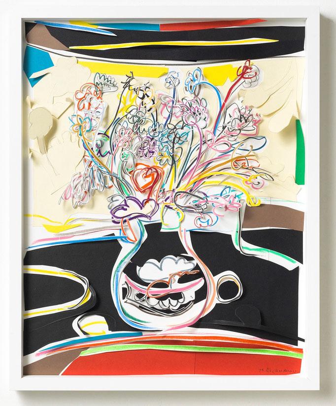 Marion Eichmann, Blumen V, 2018, Grafitstift, Ölpastell, Buntstift, farbiges Papier, gerahmt 50 x 40 cm