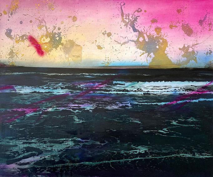 SUNSET (MAGENTA)  2021 Öl und Acryl auf Leinwand 100 x 120 cm