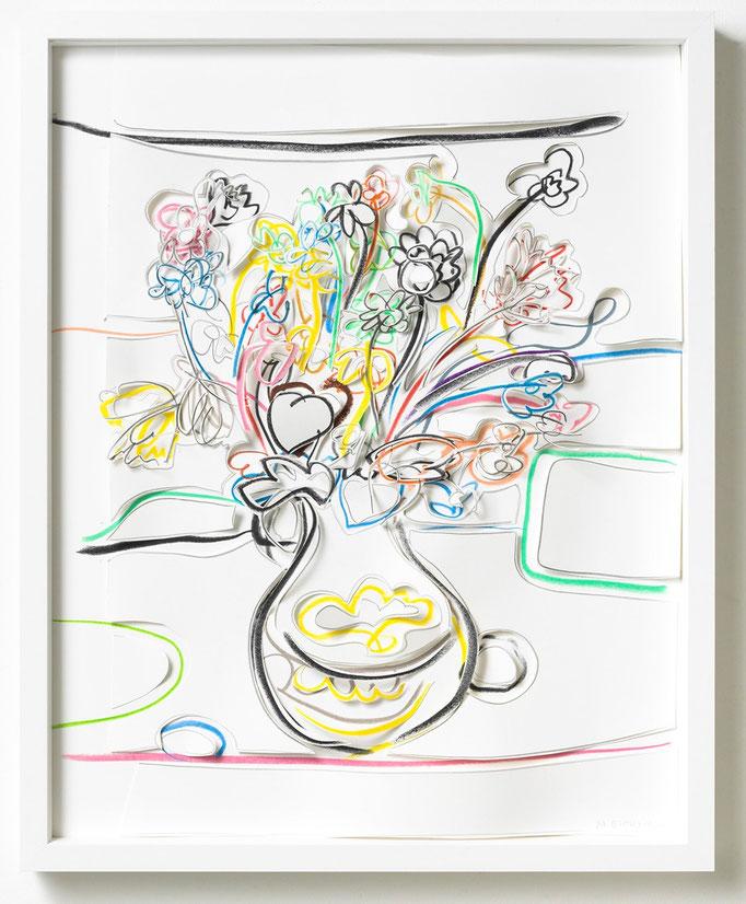 Marion Eichmann, Blumen III, 2018, Grafitstift, Ölpastell, Buntstift, Papier, gerahmt 50 x 40 cm