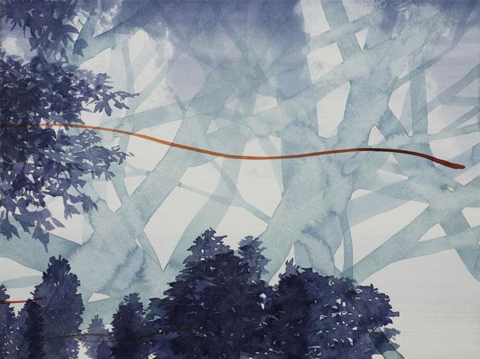 KLAUS LOMNITZER,  o.T. (adwidw), aus der Serie: Überunter den Maulwurfshügeln, 2019, Tusche auf Papier, 42 x 56 cm