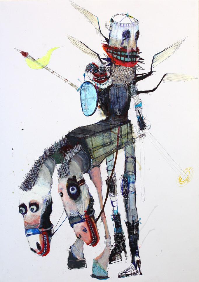 THE HOLY MICHAELS, 2020, Mischtechnik auf Papier, 85 x 60 cm