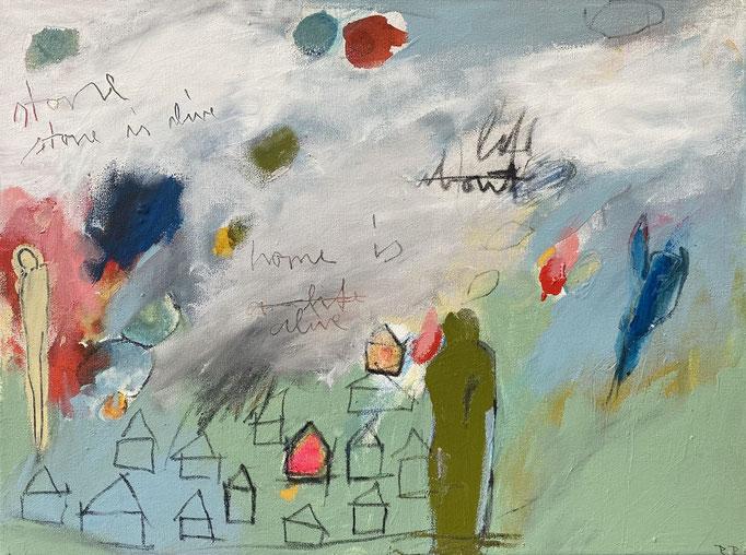 REBECCA RAUE, STONE IS ALIVE / HOME IS ALIVE  2012 Acryl, Buntstift, Pastell auf Leinwand, 30 x 40 cm