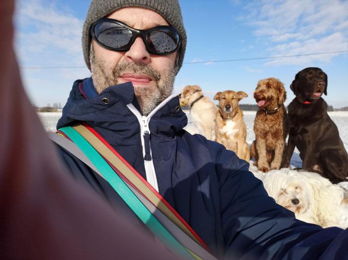 Winter, Selfie, Dog Sitter, Schnee.