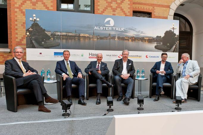 """""""Alster-Talk"""" mit Jan Menko Gummert, Partner EY; Dr. Thomas Vogelsang, Vorstand Haspa; Andreas Bartman (Globetrotter); Uwe-Jens Meyer."""