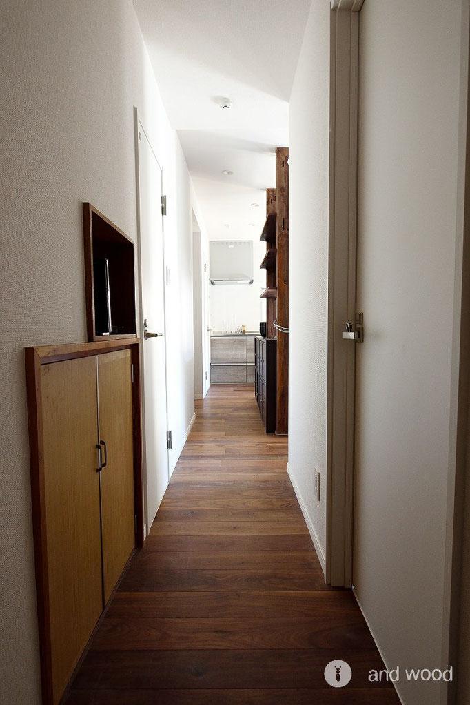 ウォールナット フローリング 施工例 andwood アンドウッド シェアハウス