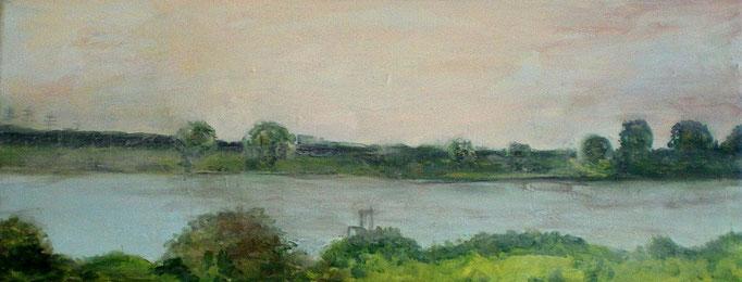 Rheinblick I, Acryl auf Leinwand, 20x50cm