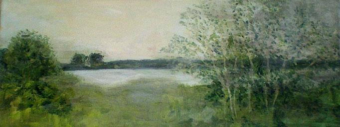 Rheinblick II, Acryl auf Leinwand, 20x50cm