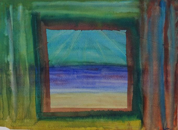 Nr.-L5: Blick aus dem Fenster, Aquarell, A4, Papier