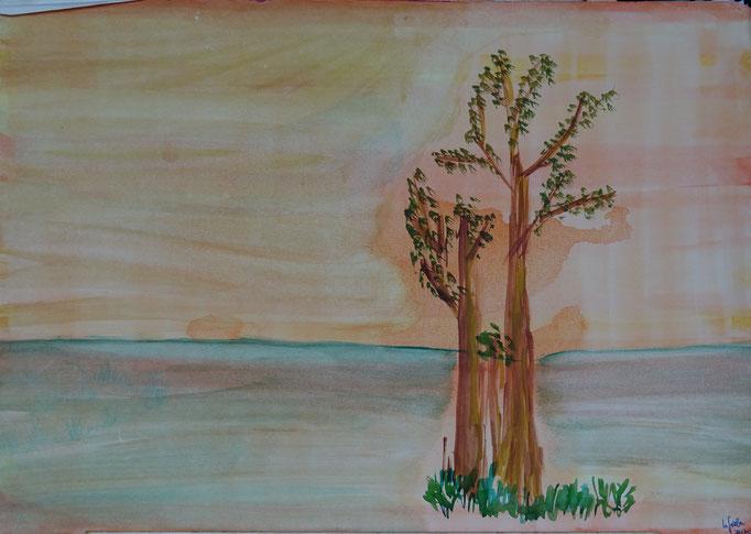 Nr.-L11: Trockene Bäume, Aquarell, A 3, Papier