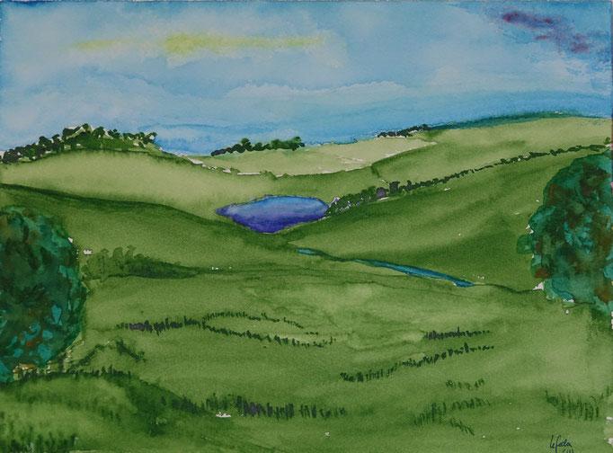 Nr.-L6: Blauer See, Aquarell, A4, Papier