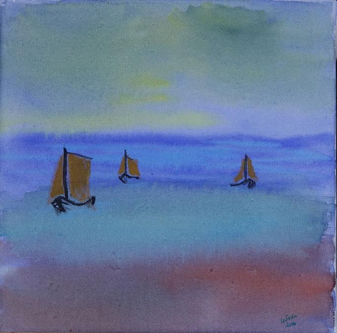 Nr._L19: Am Meer, Aquarell, 20x20, Leinwand