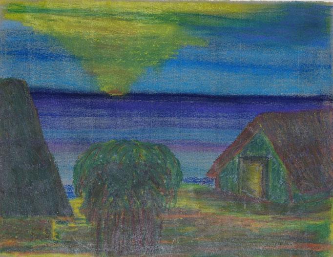Nr.-L7: Sonnenuntergang, Ölpastell, A4, Papier