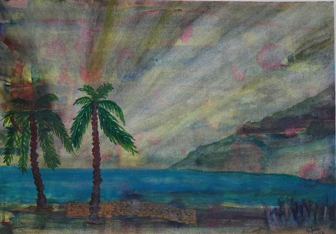Nr.-L8: Wetterleuchten, Aquarell, A4, Papier
