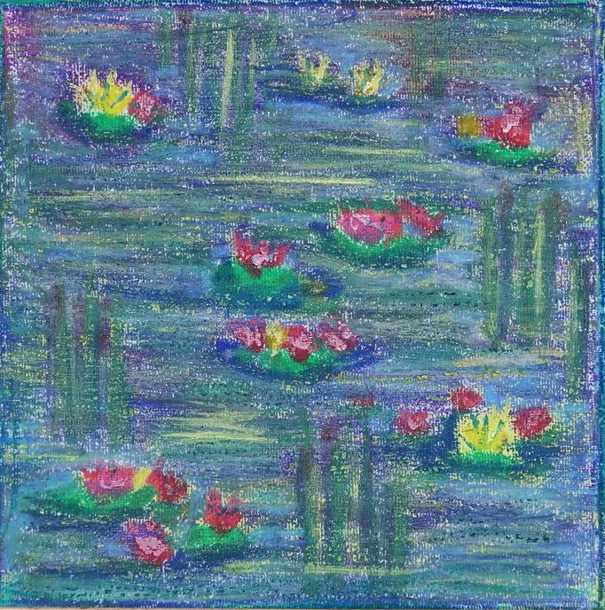 Nr.-L20: Wasserrosen, Ölpastell, 20x20, Leinwand