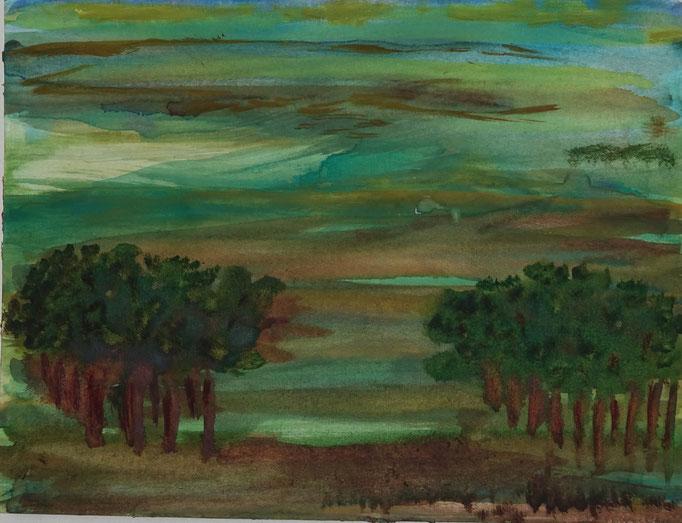 Nr.-L16: Blick aus dem Wald, Aquarell, A 4, Papier