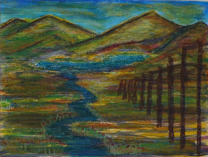 Nr.-L15: Flußlandschaft, Ölpastell, A 4, Papier